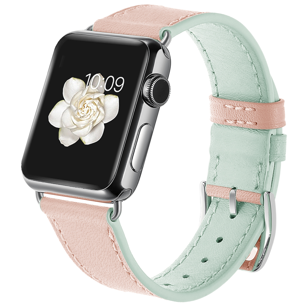 Dây Da Pink And Green cho Apple Watch Series 1/2/3/4/5