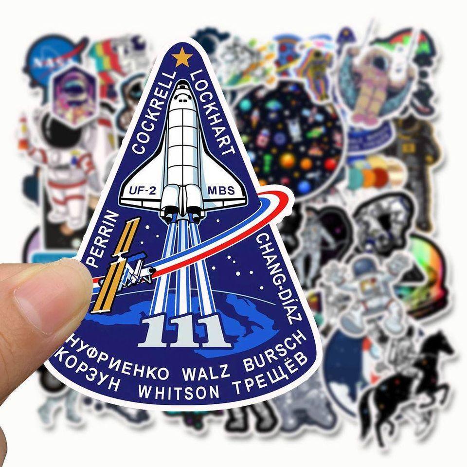 Bộ 50 Sticker chủ đề Phi hành gia vũ trụ, không gian dán trang trí Macbook, Vali, Mũ bảo hiểm, Điện thoại, Laptop