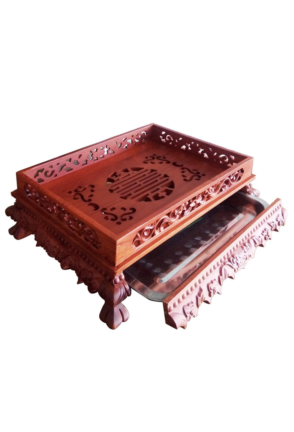Khay Trà Gỗ Hương Đỏ (mẫu Khay Rồng đục thủng )TP992