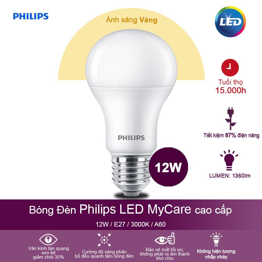Bóng đèn Philips LED MyCare 12W 3000K E27 A60  - Ánh sáng vàng - Hàng Chính Hãng