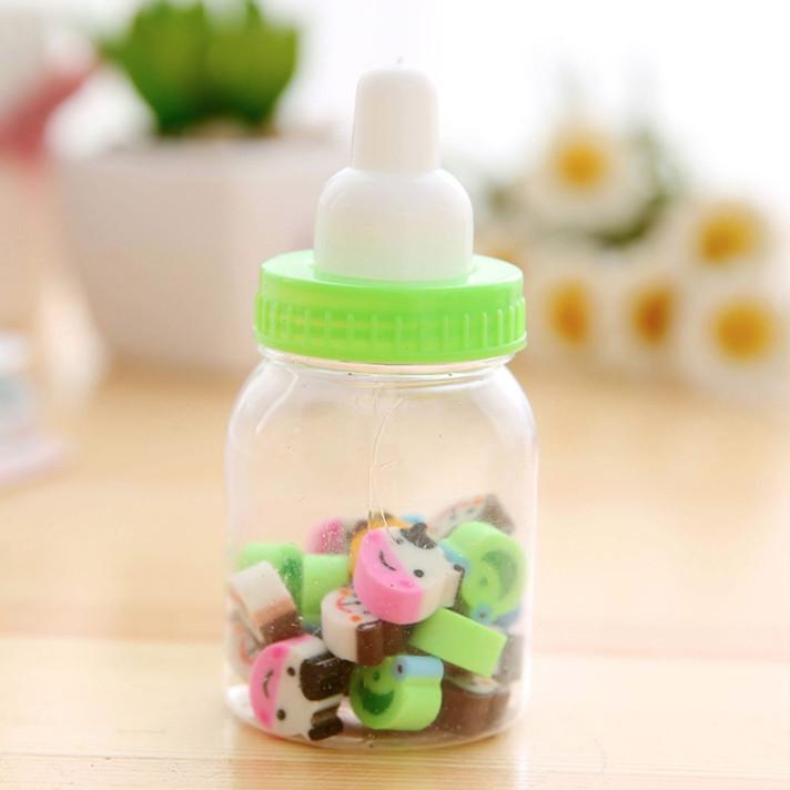 [HỘP 20 VIÊN] Hộp Cục Tẩy Hình Bình Sữa Cực Dễ Thương - Cục Gôm Tẩy Bút Chì Cho Bé