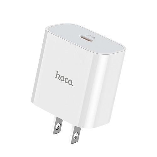 Bộ sạc nhanh QC3.0 / PD18W Hoco kèm dây sạc Type-C to Lightning tự động nhận dạng thiết bị - Hàng chính hãng