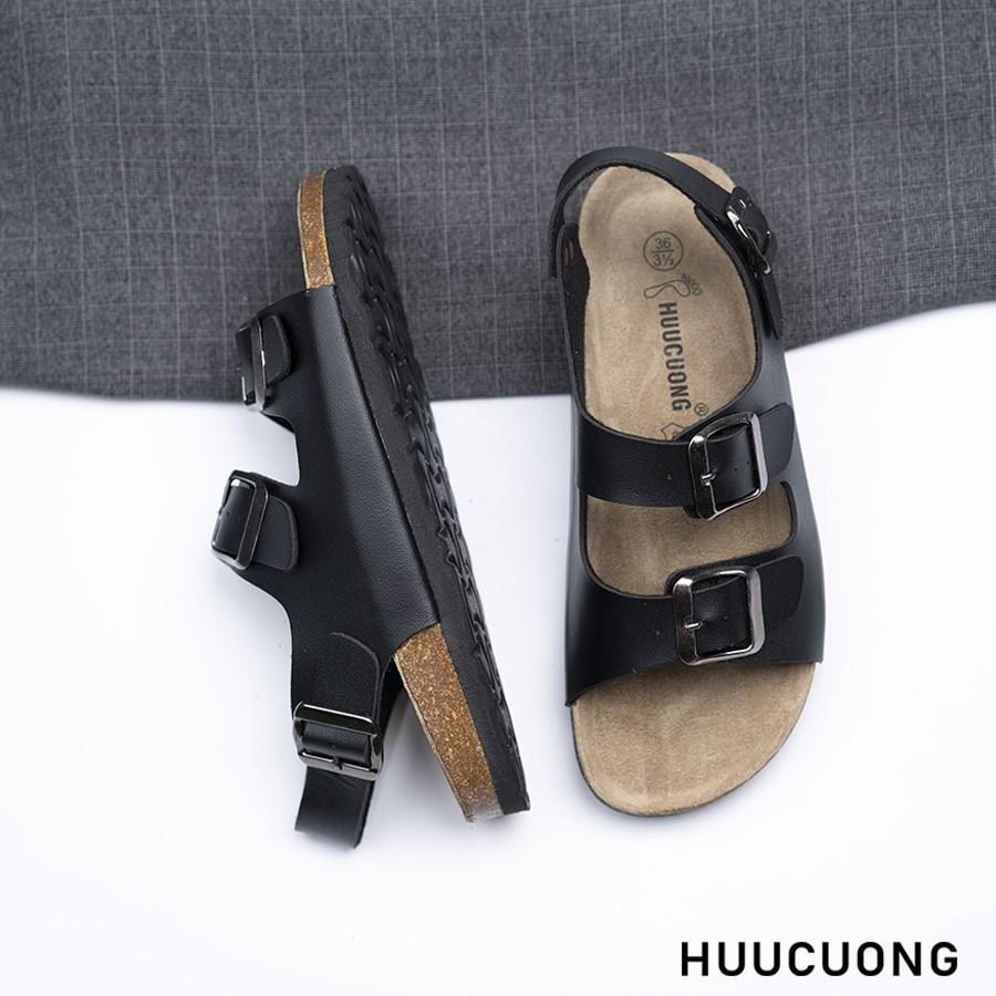 Sandal HuuCuong 2 khóa đen đế trấu