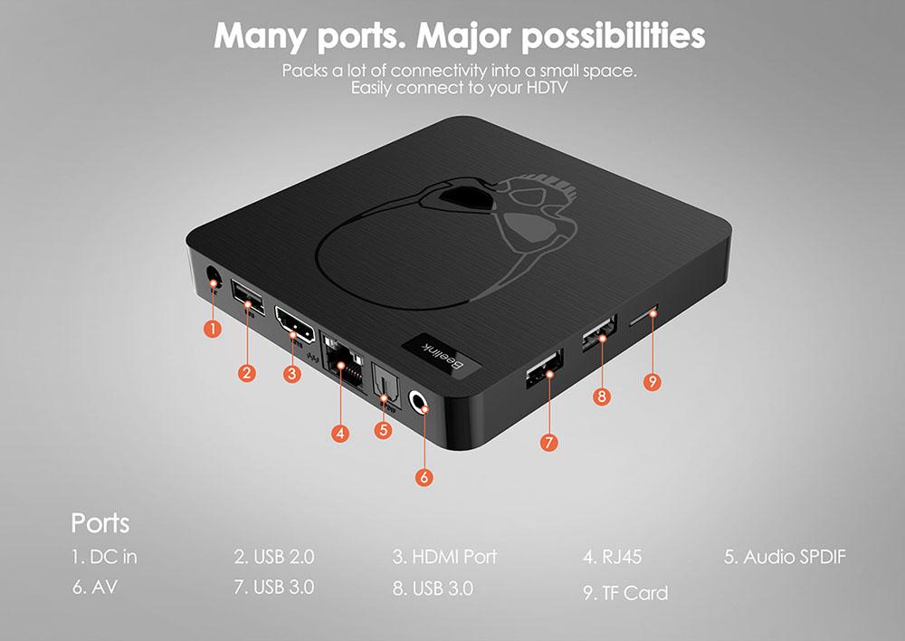 Androdi tivi box Beelink GT-King Ram 4GB, Rom 64GB, điều khiển giọng nói và cử chỉ android 9 - Hàng Nhập Khẩu