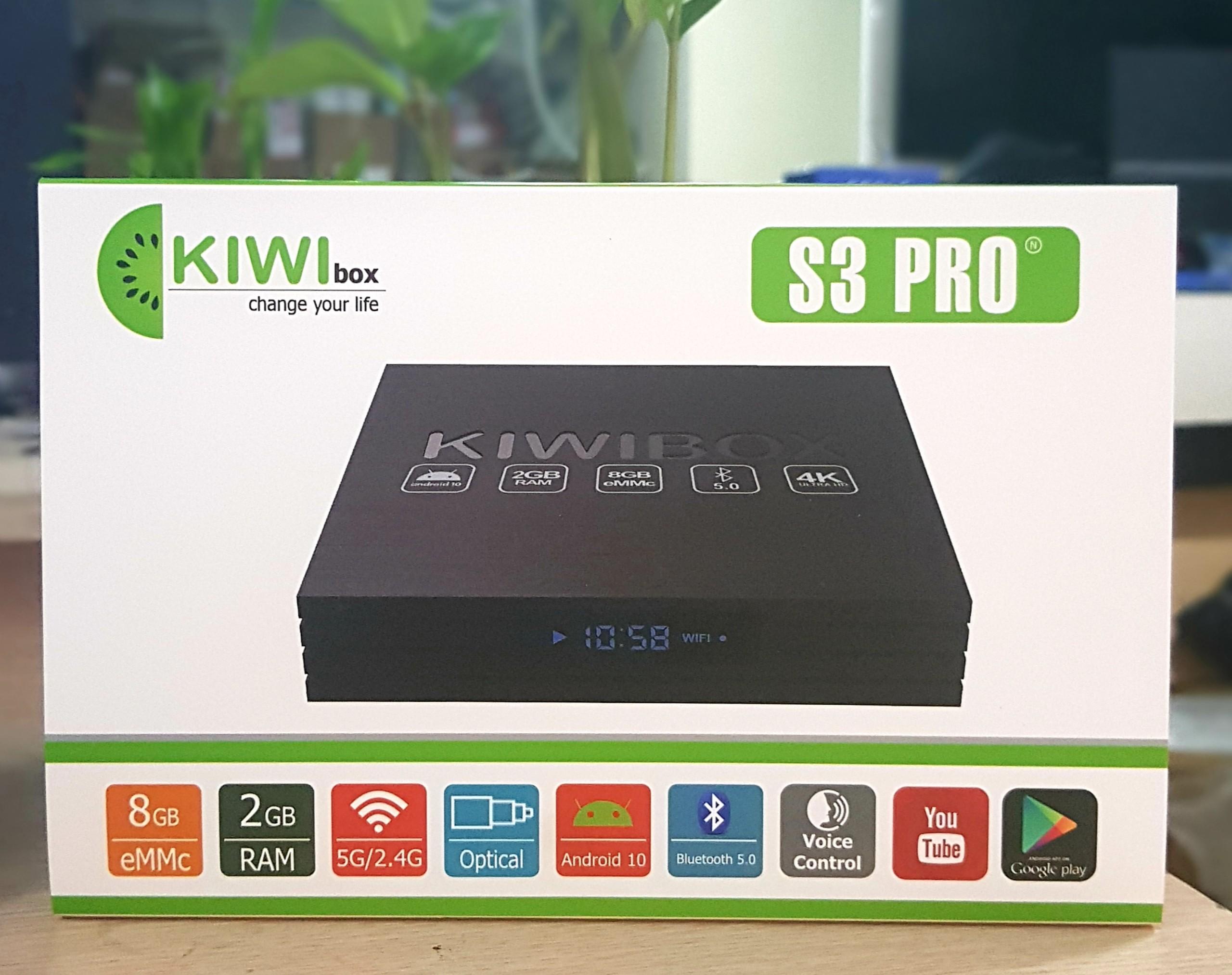 Android box Kiwibox S3pro mới , kiwi s3 pro 2021 Ram 2G, Rom 8G, Wifi 2BT, Android 10, Bluetooth 5.0 - truyền hình miễn phí - Hàng chính hãng