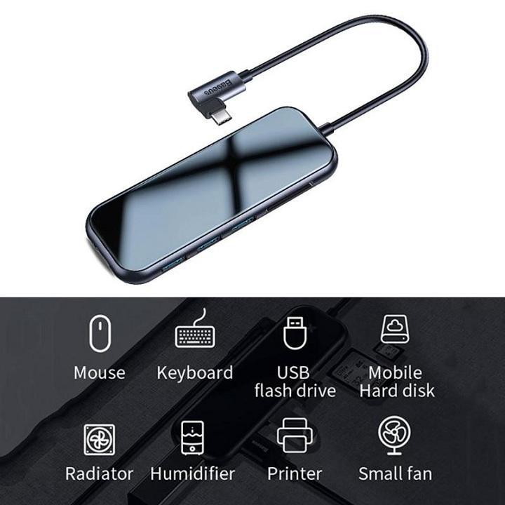 Bộ chuyển đổi Baseus HUB 7in1 USB-C 3xUSB 3.0 HDMI 4K SD / TF micro SD PD - Hàng nhập khẩu