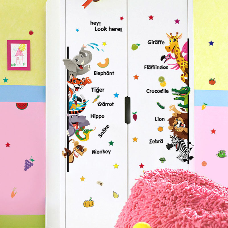 Decal dán tường từ vựng tiếng anh về động vật cho bé SK7042