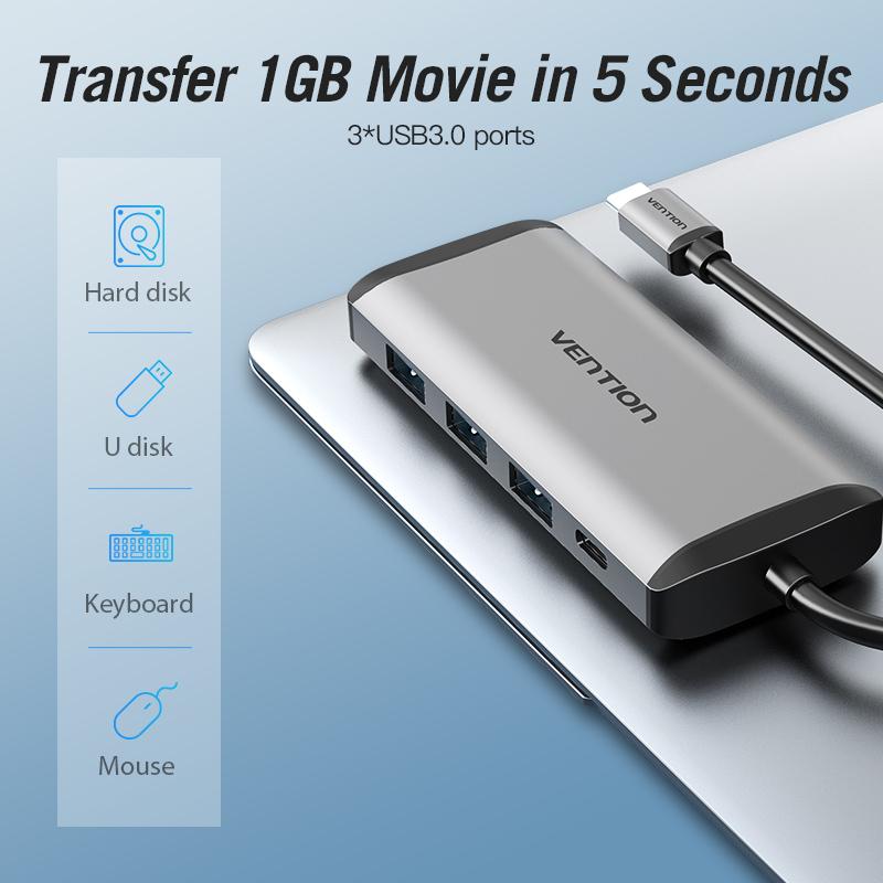 Cáp chuyển USB Type-C to USB3.0*3/Gigabit Ethernet/PD Vention TGDHB - Hàng chính hãng