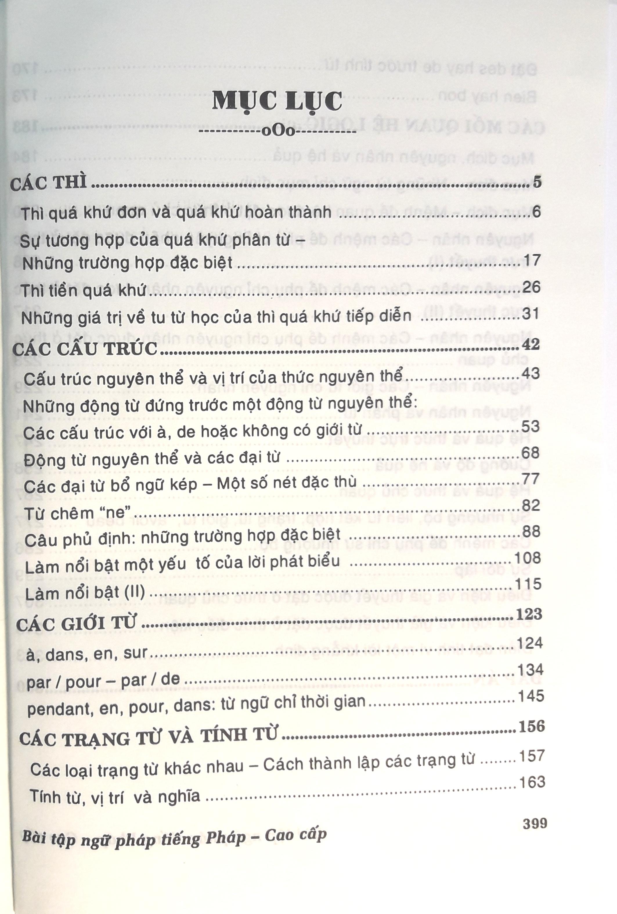 Bái tập ngữ pháp tiếng pháp theo chủ đề ( trình độ cao cấp )