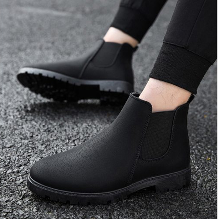 Giày boods nam cổ thấp da sần LAHstore, thời trang thu đông 2020