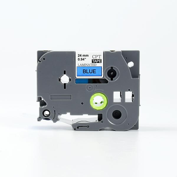 Tape nhãn in tương thích CPT-551 dùng cho máy in nhãn Brother P-Touch (chữ đen nền xanh dương, 24mm)