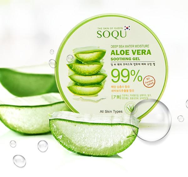 Gel Dưỡng Ẩm Da Chuyên Sâu Chiết Xuất Lô Hội Jeju SoQU Deep Sea Water Moisture Aloe Vera Soothing Gel Hàn Quốc