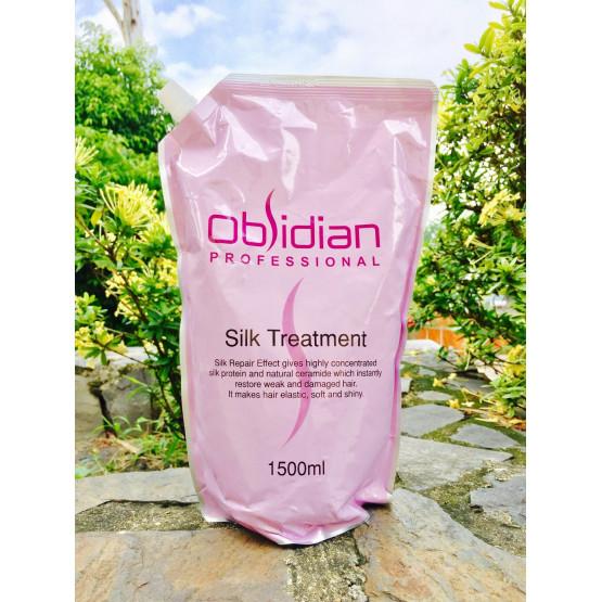Hấp dầu dưỡng tóc siêu mềm mượt Obsidian Silk Treatment 1500ml tặng kèm móc khóa