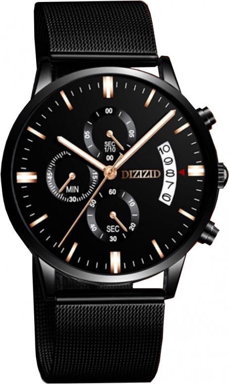 Đồng hồ nam DIZIZID dây thép lụa đen chạy 6 kim và lịch ngày 6KD01 (mặt đen -  dây đen)