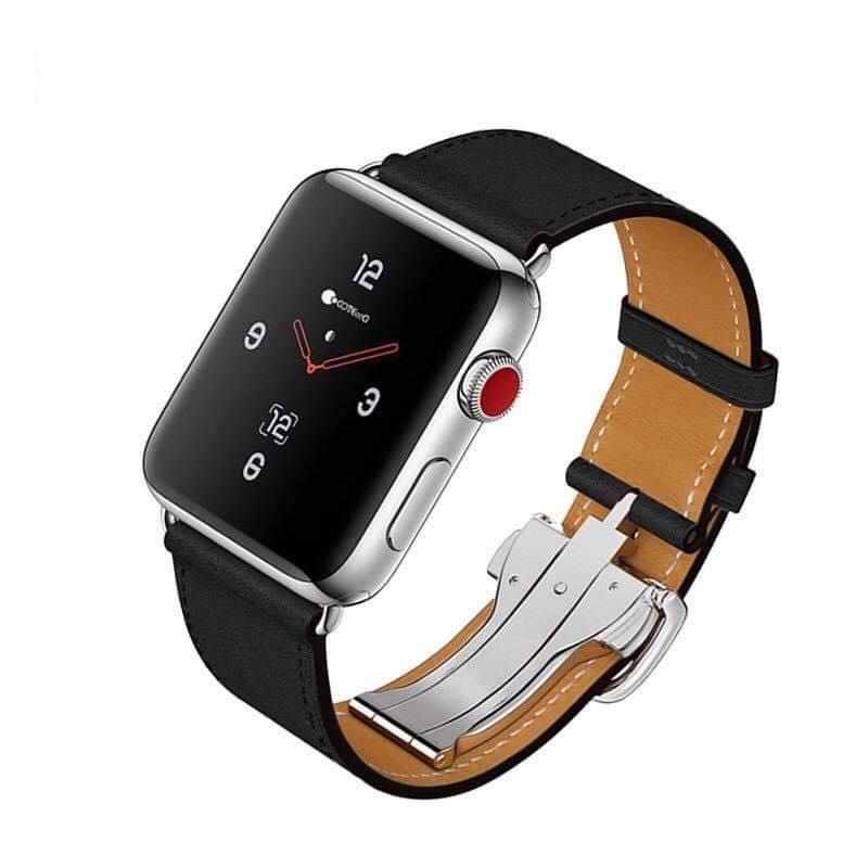 Dây da hermes Apple watch khoá bướm - chống gãy dây size 38mm