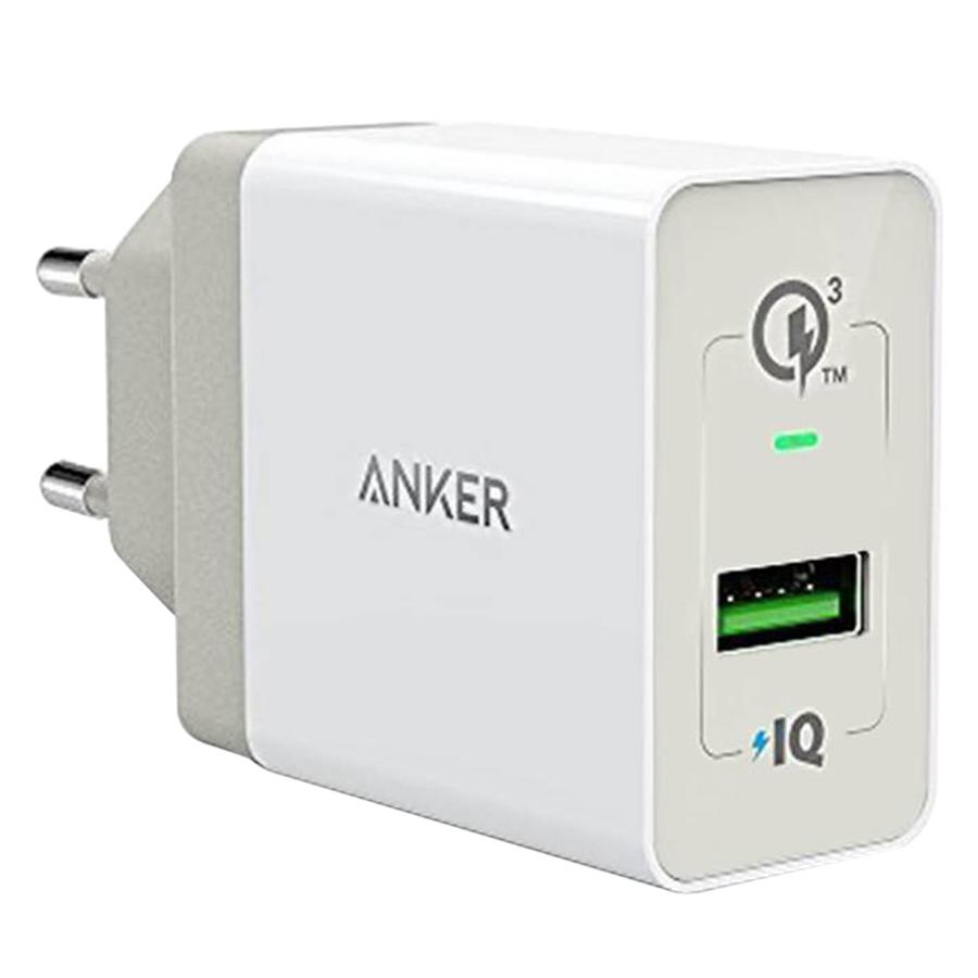 Adapter Sạc 1 Cổng Anker PowerPort+ 18W Tích Hợp PowerIQ Hỗ Trợ Sạc Nhanh QC 3.0 - A2013 - Hàng Chính Hãng