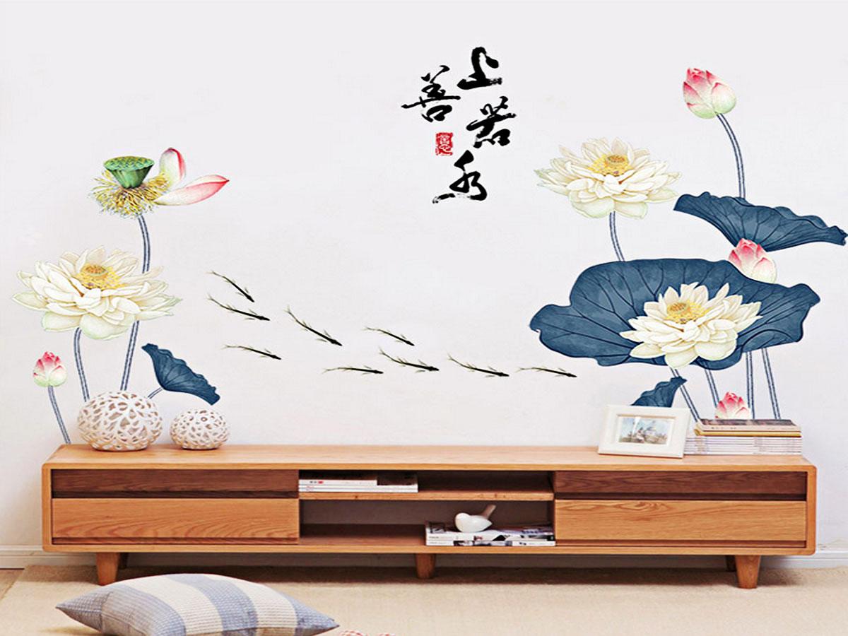 decal dán tường hoa sen trắng lá xanh 2 mảnh gs9390