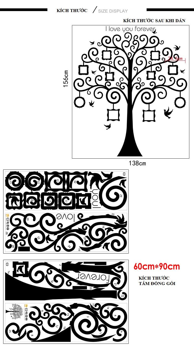 Decal dán tường cây treo ảnh số 15 Amyshop(156x138cm)