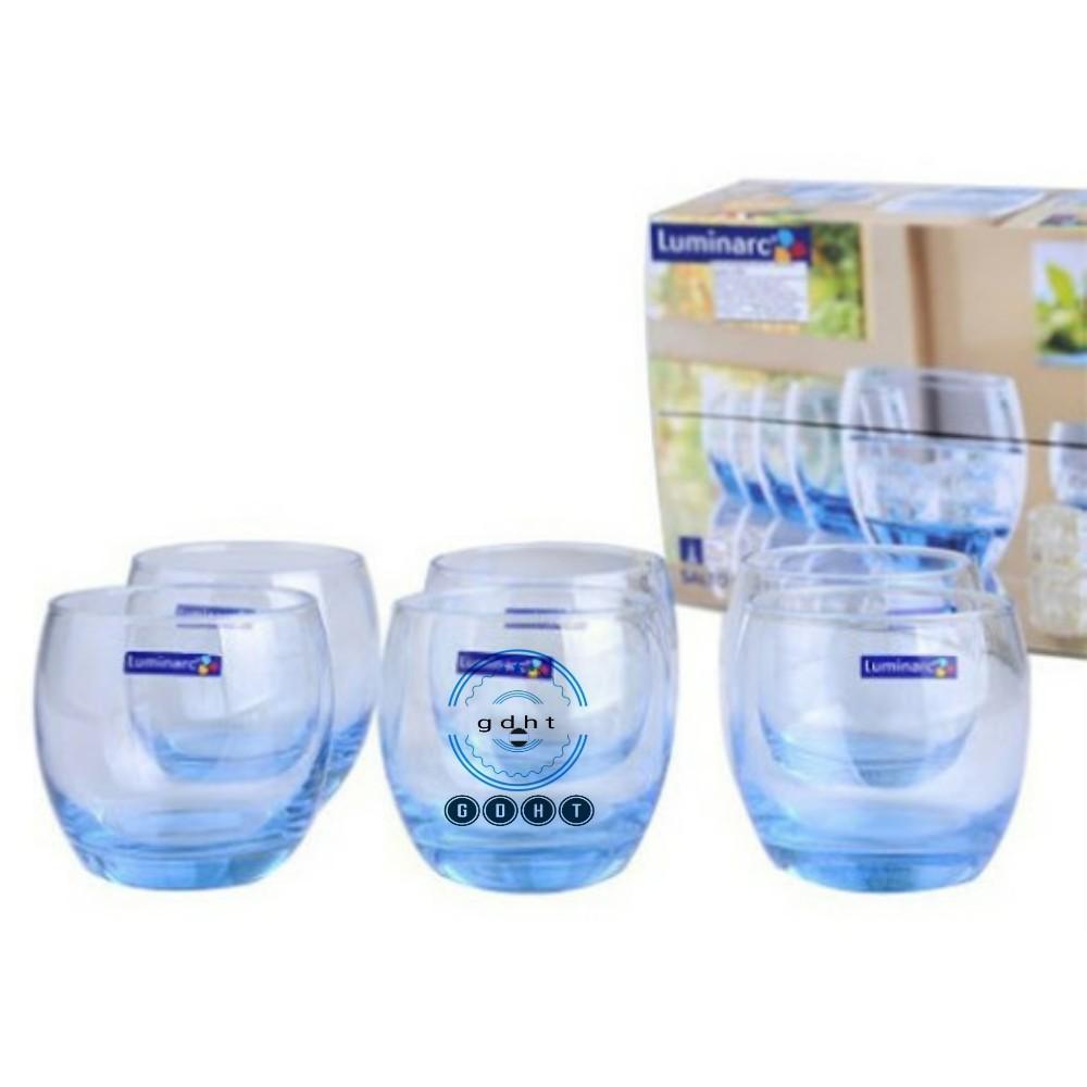 (SẴN) Giá úp cốc inox mạ vàng titan kèm 6 cốc thủy tinh xanh