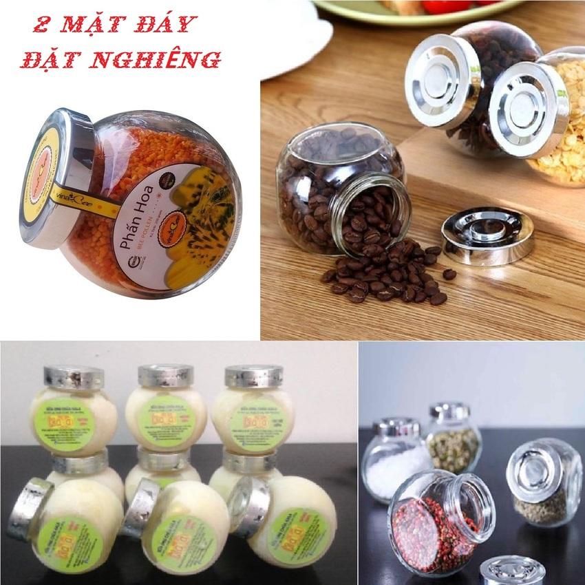 Hũ đựng gia vị đẹp 380ml (combo 6 hủ) mẫu Tròn Dẹt kiểu Nghiêng 2 đáy - Nắp nhựa màu bạc - Hũ thủy tinh đựng mứt kẹo, mật ong, sữa ong chúa, thực phẩm, mỹ phẩm