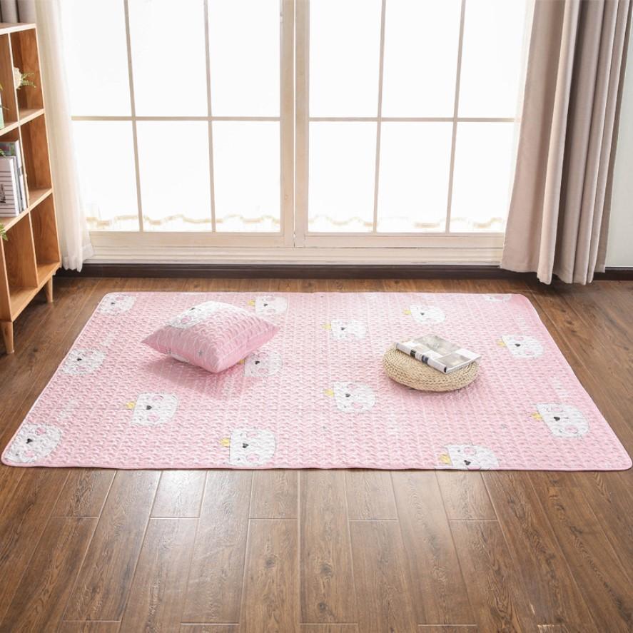 Thảm Cotton Lót Sàn Trang Trí Nhật Bản Hồng