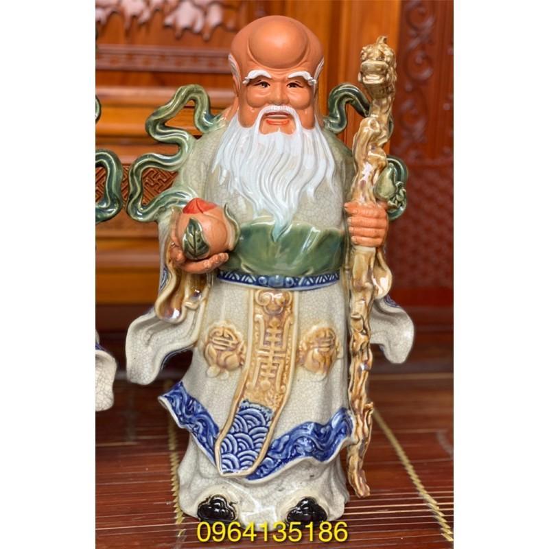 Tượng tam đa Phúc Lộc Thọ men rạn h43cm gốm sứ Bát Tràng