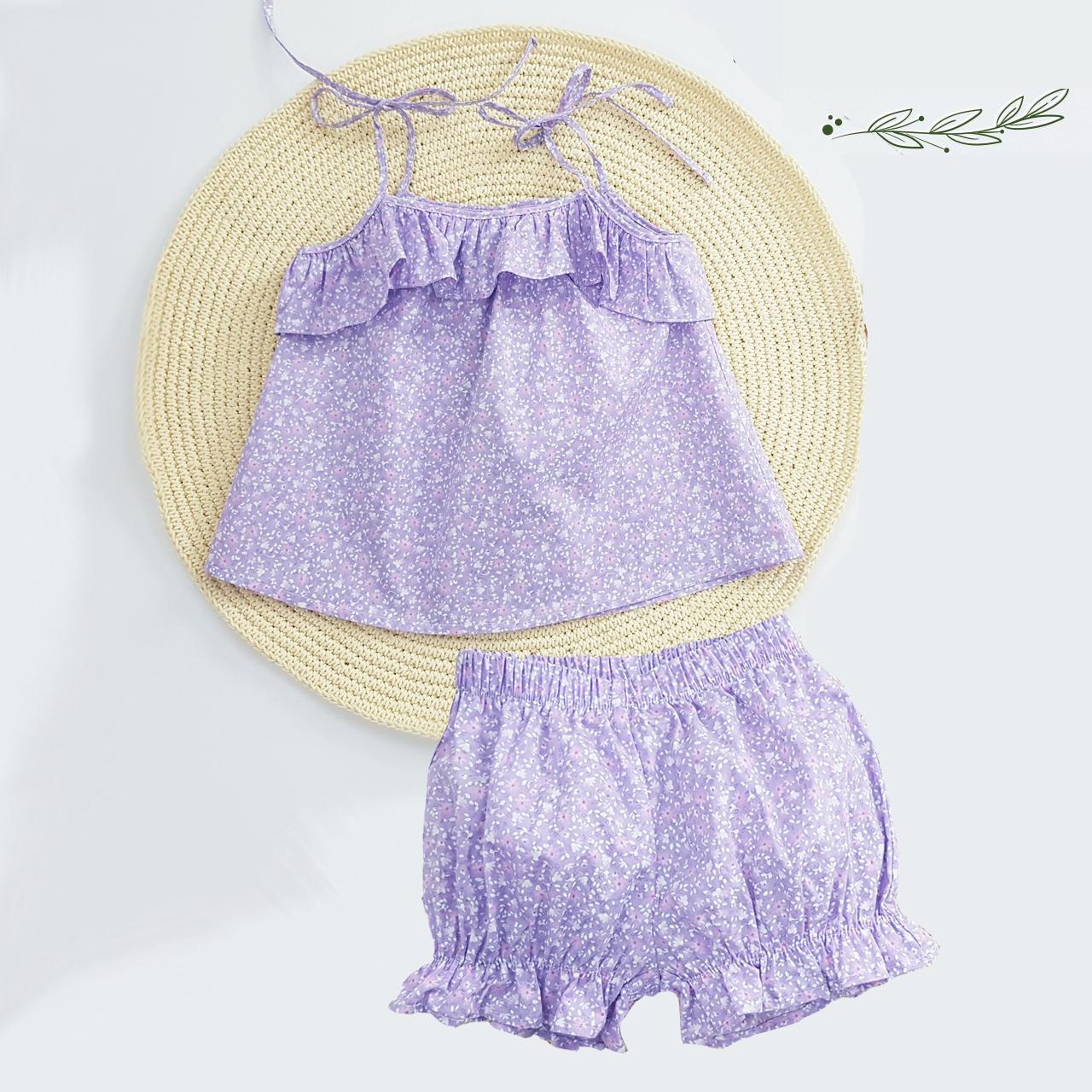 Set bộ đồ cho bé gái 2 dây tím hoa nhí hot trend set trang phục bé gái thô mịn·từ 1-8T (8-32kg) + Tặng kẹp tóc cực xinh