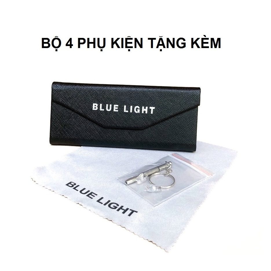 Kính Giả Cận, Gọng Kính Cận Nam Nữ Mắt Vuông Gọng Bạc Trong Suốt Không Độ Hàn Quốc - BLUE LIGHT SHOP