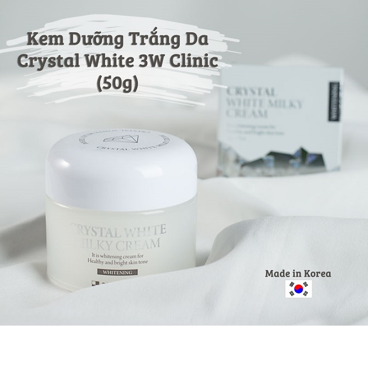 Kem dưỡng trắng da - Kem dưỡng da dưỡng ẩm bật tông 3W Clinic Crystal White Milky Cream Hàn Quốc 50gr