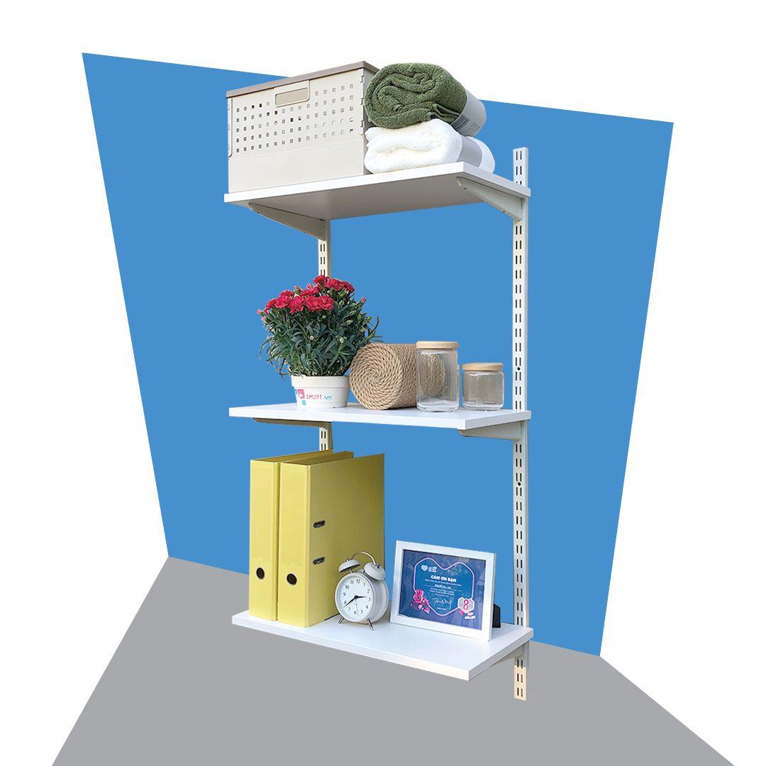 Kệ gỗ SMLIFE Railshelf 40x120cm - Phụ Kiện Thành Phần Để Lắp Hệ Kệ Ray Tường Railshelf