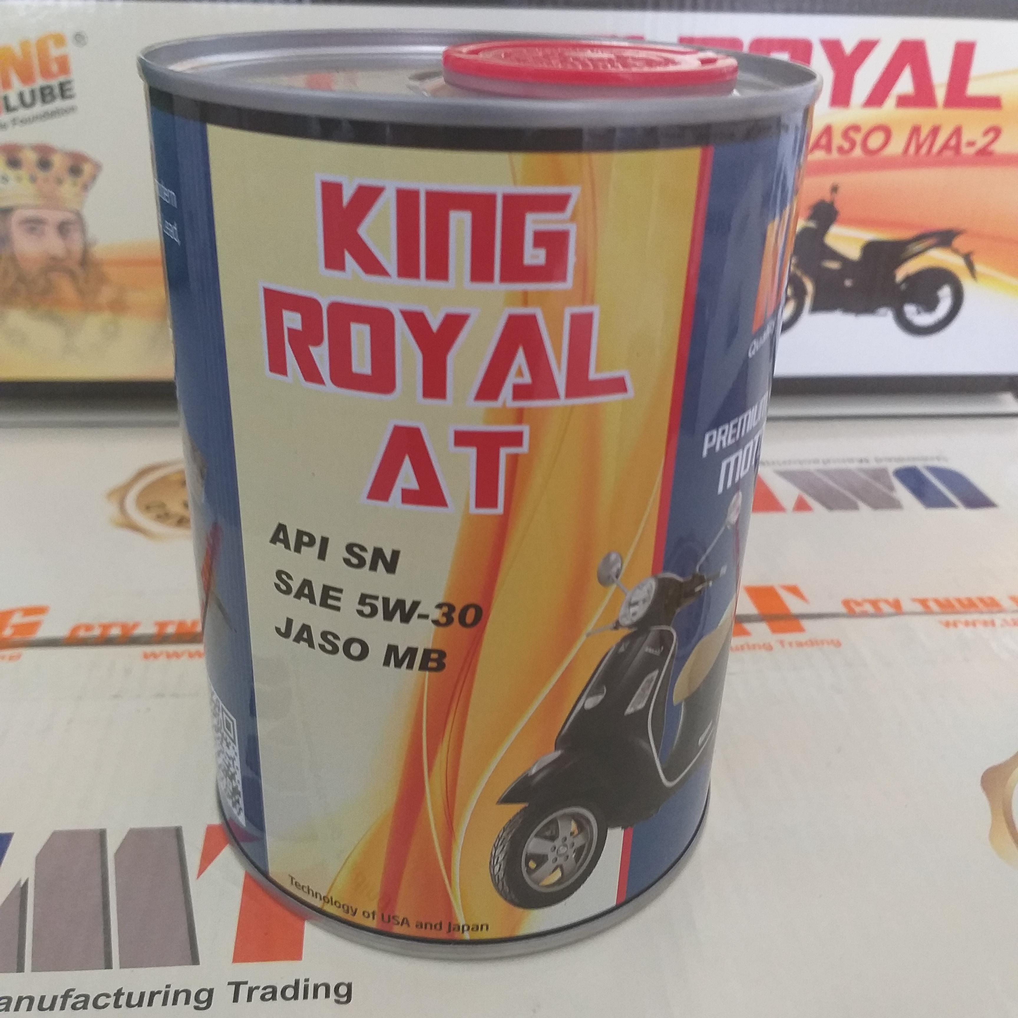 Dầu nhớt xe máy tổng hợp KING ROYAL AT, API SN, SAE 5W30, JASO MB phù hợp cho mọi loại xe tay ga cao cấp hiện nay. Giúp động cơ tăng tốc vượt trội, tuổi thọ bền lâu, tiết kiệm nhiện liệu, mạnh mẽ trên mọi cung đường. Sản phẩm chính hãng 100%