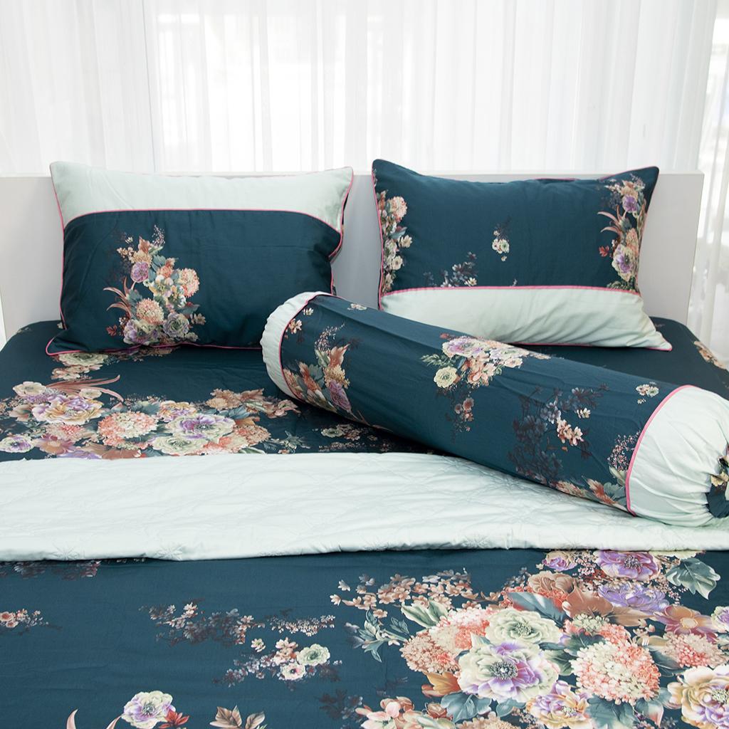 Vỏ gối Ôm HQ2010 phối xanh lá đậm hoa