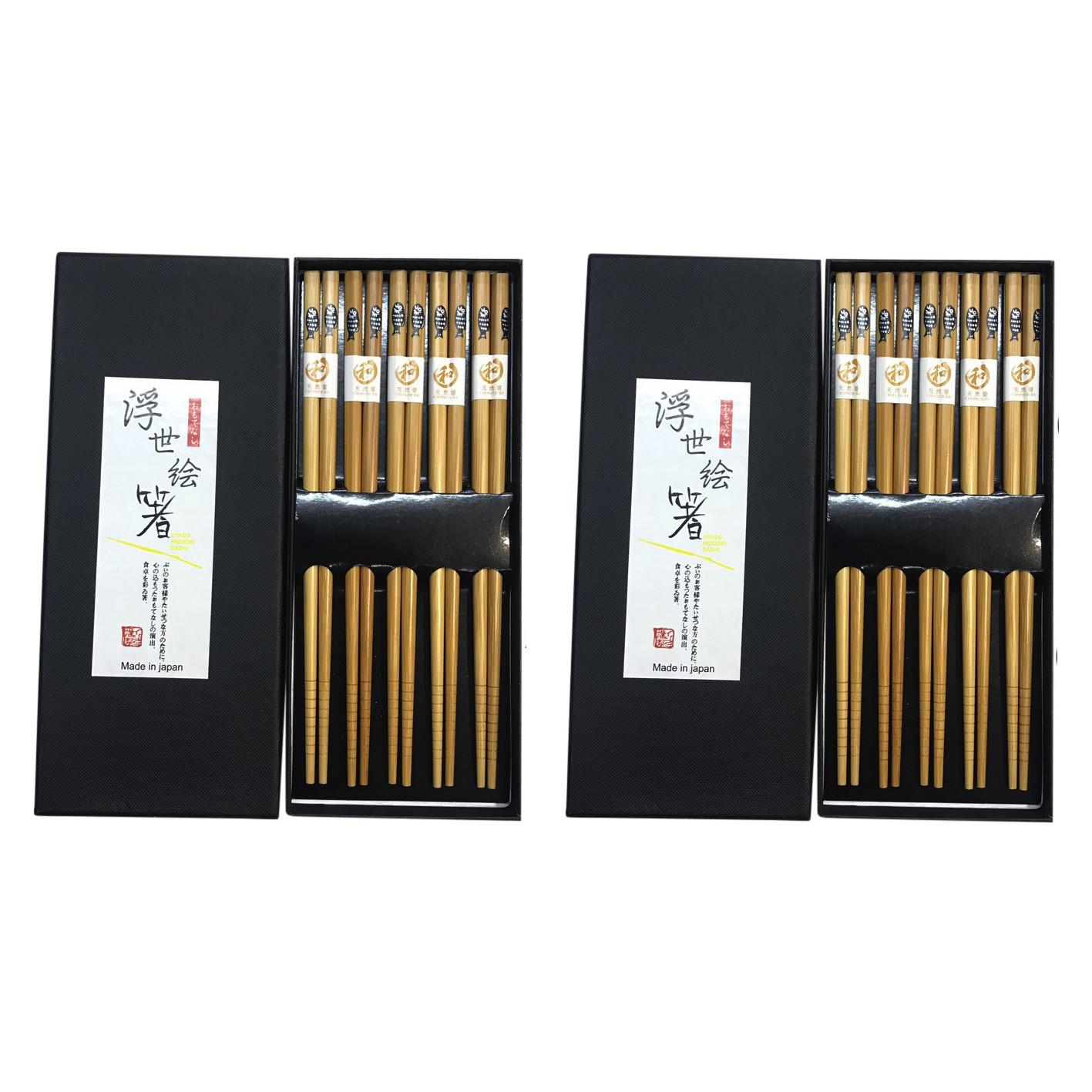 Combo 02 Set đũa tre Tanaka in họa tiết hoa văn tinh xảo - Nội địa Nhật Bản (Set 05 đôi)