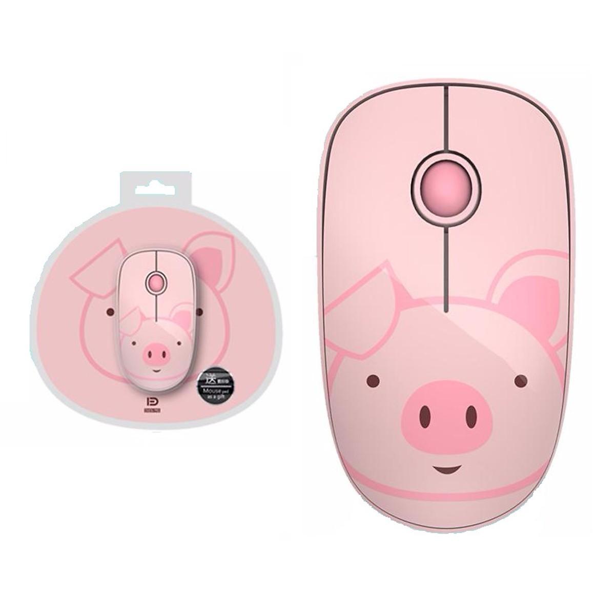 Chuột Không Dây Forter E680 Pink (Màu Hồng) Họa Tiết Kute - Hàng Chính Hãng (Tặng Kèm Lót Chuột)