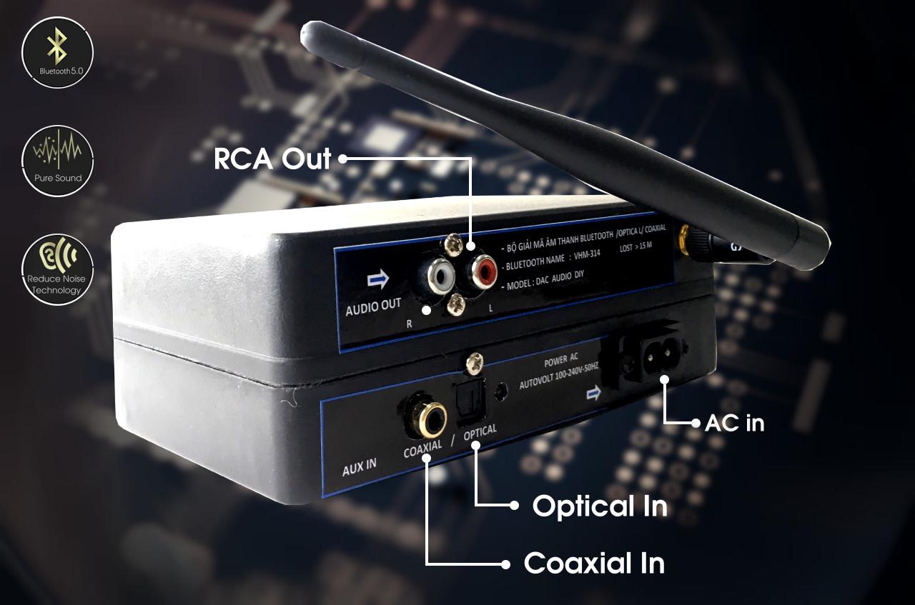 Bộ Giải Mã DAC Nghe Nhạc Lossness Bluetooth 5.0 (v5.0 DAC) AMITECH - Hàng Chính Hãng