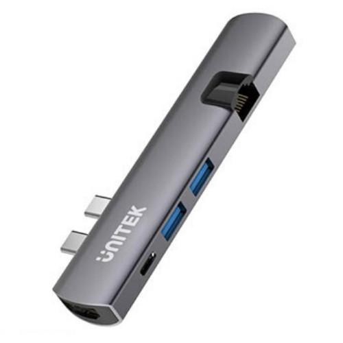 Bộ chuyển USB type-C sang HDMI Unitek Y-D008A  - MULTI HUB DUAL TYPE-C RA 2 USB 3.0 + HDMI + LAN UNITEK (D008A) - HÀNG CHÍNH HÃNG