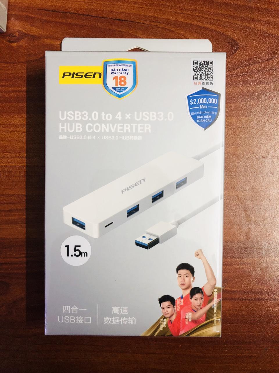 Bộ chuyển đổi  Pisen HUB USB 3.0 1500mm ( Bộ chia USB 4 cổng 3.0 ) màu trắng _Hàng chính hãng