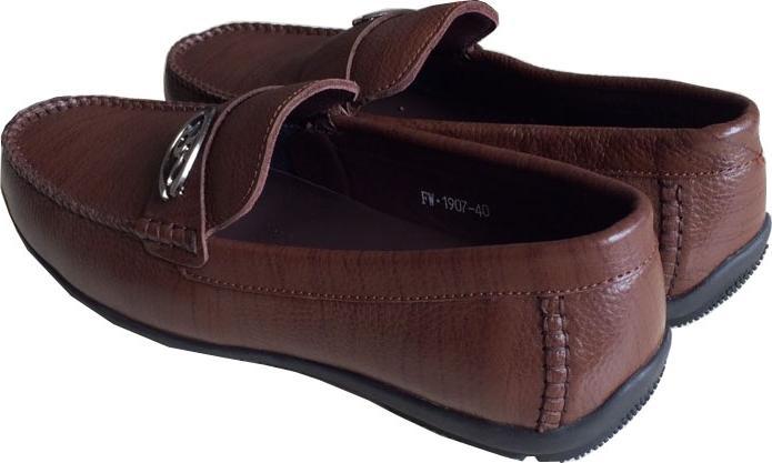 Giày mọi nam  nâu da bò cao cấp đế cao su GM019