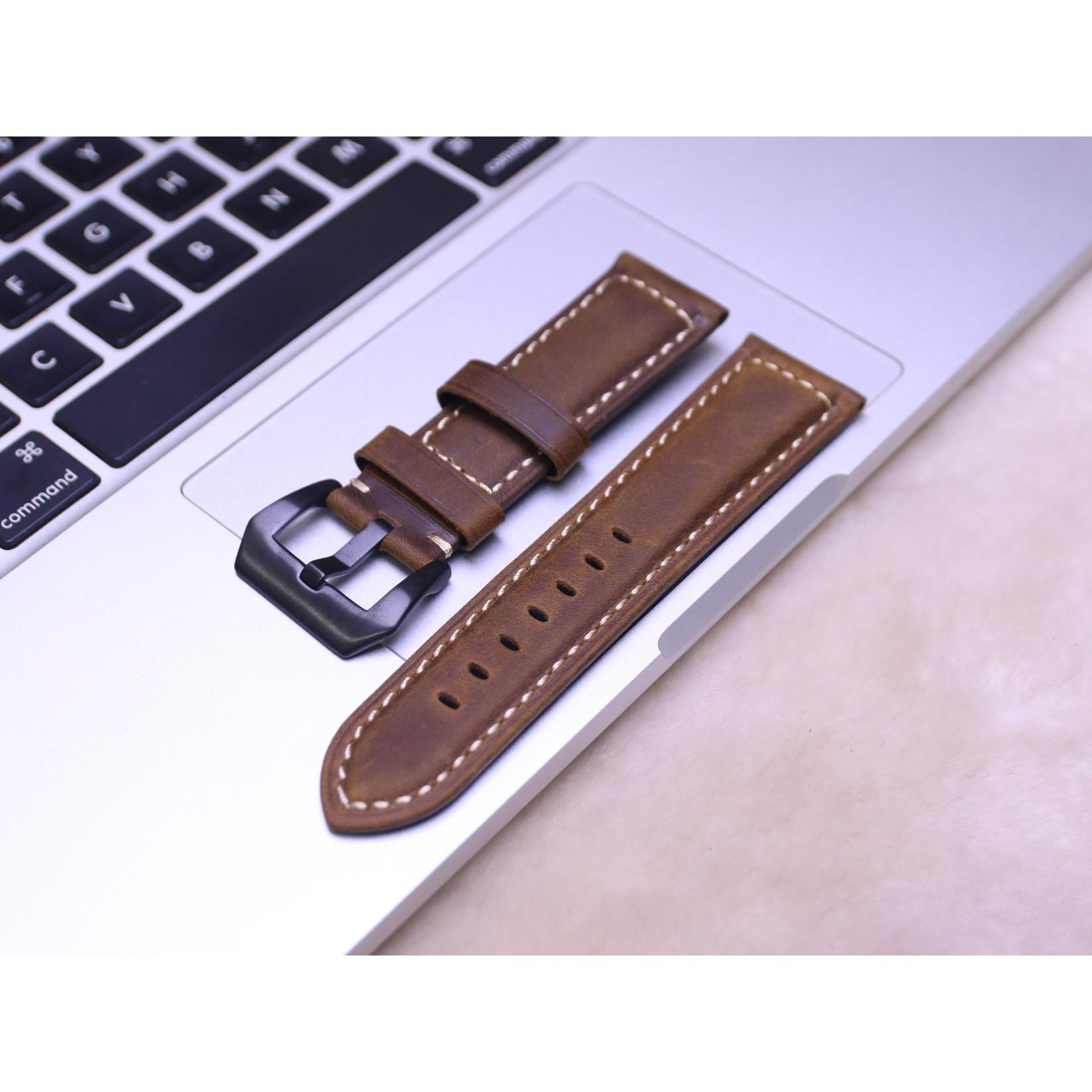 Dây Da Đồng Hồ Da Bò Sáp Vintage, Dây đeo bằng da cổ điển, Lựa chọn màu sắc và chiều rộng 20mm / 22mm / 24mm / 26mm ( Apple 1,2,3,4,5,6 - Đồng Hồ cổ Điển - Các Loại Swatch )