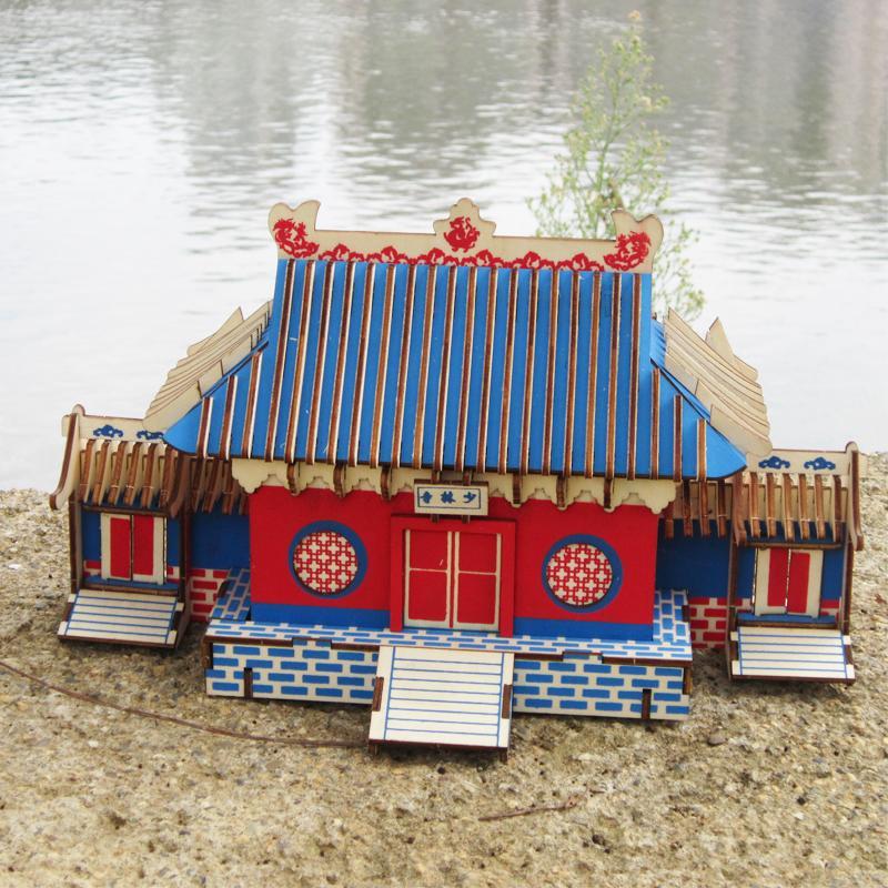 Đồ chơi lắp ráp gỗ 3D Mô hình Thiếu Lâm Tự Shaolin Temple Laser