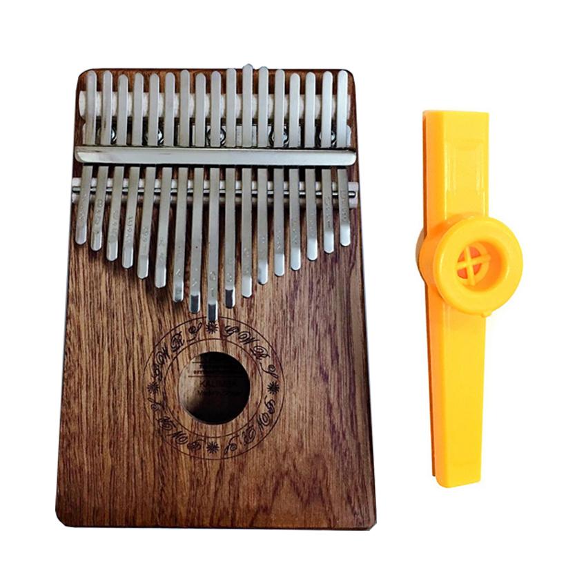 Đàn Kalimba 17 phím Gỗ Mahogany Tặng Kèm Kèn Kazoo - Khối chữ Cacao