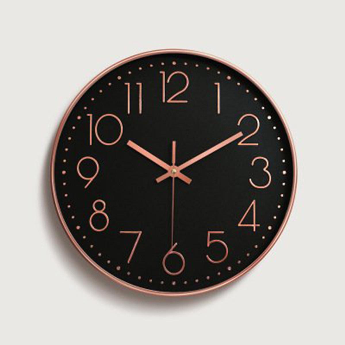 Đồng hồ treo tường kim trôi vỏ kim loại, 20cm, màu đen Dan House – DH01X