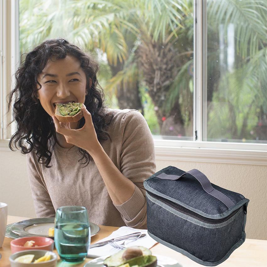 Túi Đựng Hộp Cơm Giữ Nhiệt Văn Phòng Kích Thước Nhỏ Màu Xanh Xám Dạng Hộp Có Dây Khóa Kéo Tặng Túi Muỗng Nĩa (Lunch Bags, Box)