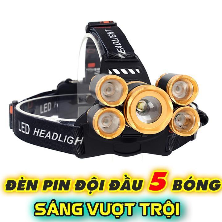 Đèn pin đội đầu 5 bóng cực sáng kèm pin sạc