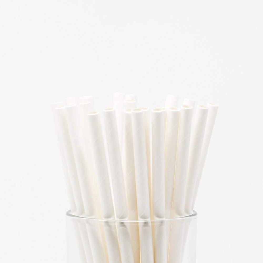 Hộp 200 ống hút giấy màu trắng dùng cho cà phê, nước ngọt 197x6mm