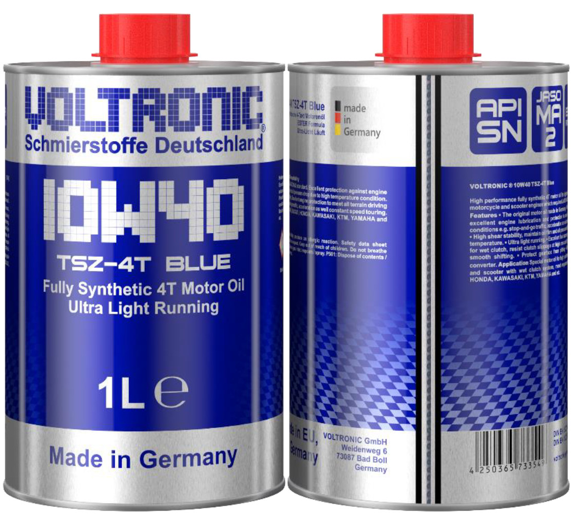 Nhớt nhập khẩu tổng hợp dành cho xe số và côn tay nhập khẩu từ Đức VOLTRONIC 10W40 TSZ BLUE FULLY SYNTH MOTOR OIL (1L)