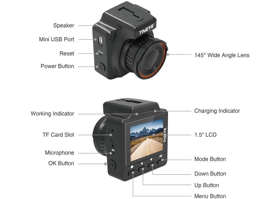 Camera Hành Trình Xe Hơi/ Ô tô ThiEYE Dash Cam Safeel One - Hàng Chính Hãng