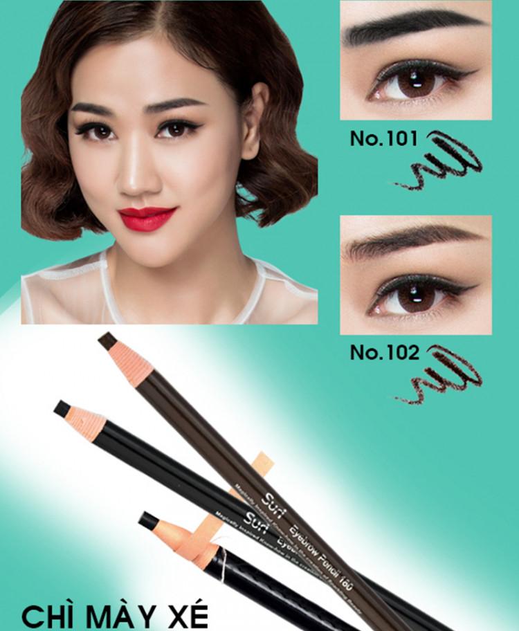 Chì mày xé Suri Eyebrow Pencil Hàn Quốc No.101 Black tặng kèm móc khoá 1