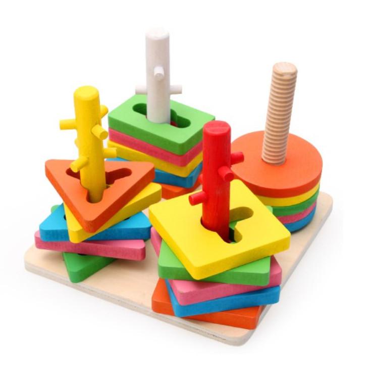 Đồ chơi thả hình 4 trụ cột khối gỗ zic zac cho bé