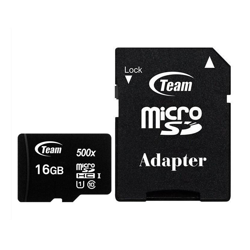 Thẻ nhớ 16gb micro SDHC CL10_U1 500X Team Adapter (Đen) – Hàng Chính Hãng